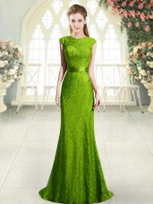 Dynamic Scoop Sleeveless Sweep Train Backless Homecoming Dress Green