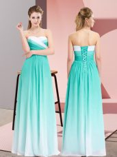 Beautiful Floor Length Empire Sleeveless Turquoise Dress for Prom Lace Up