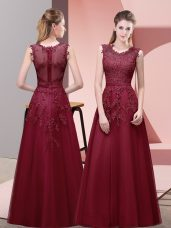 Custom Made Tulle Scoop Sleeveless Zipper Lace and Appliques and Belt Prom Gown in Burgundy