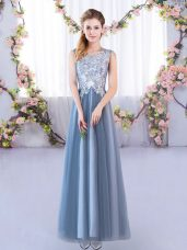 Fabulous Blue Sleeveless Floor Length Lace Lace Up Wedding Guest Dresses