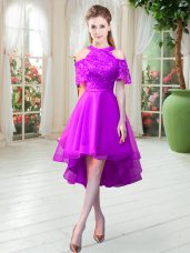 Graceful High Low Zipper Party Dresses Purple for Prom and Party with Lace