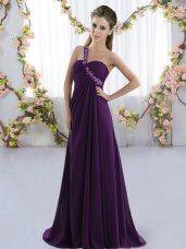 Purple Lace Up Bridesmaid Dresses Beading Sleeveless Brush Train