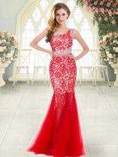 Red Zipper Prom Gown Beading and Lace Sleeveless Floor Length