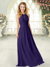 Simple Purple Sleeveless Chiffon Zipper Homecoming Dress for Prom and Party