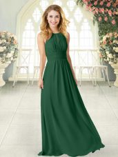 Best Selling Floor Length Zipper Prom Dress Green for Prom and Party with Ruching