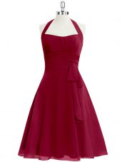 Shining Knee Length Wine Red Homecoming Dress Halter Top Sleeveless Zipper