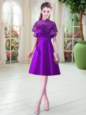 Satin High-neck Cap Sleeves Lace Up Ruffled Layers Dress for Prom in Eggplant Purple