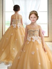 Gold Organza Zipper Custom Made Pageant Dress Sleeveless Brush Train Beading and Appliques