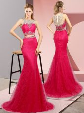 Luxurious Two Pieces Sleeveless Hot Pink Womens Evening Dresses Sweep Train Lace Up