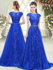 Blue A-line Tulle Scoop Cap Sleeves Lace and Appliques Zipper Formal Dresses Sweep Train
