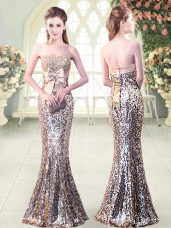 Elegant Silver Zipper Strapless Beading and Sequins and Bowknot Prom Dresses Sequined Sleeveless