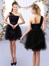 Gorgeous Lace Quinceanera Court Dresses Black Side Zipper Sleeveless Mini Length