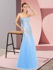 Pretty Sleeveless Zipper Floor Length Beading Homecoming Dress
