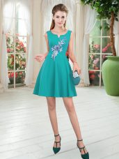 Trendy Turquoise Satin Zipper Scoop Sleeveless Mini Length Appliques