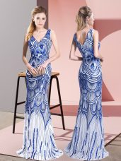 Sleeveless Floor Length Beading Zipper Prom Dress with Blue