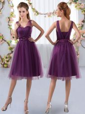 Purple V-neck Zipper Appliques Dama Dress for Quinceanera Sleeveless