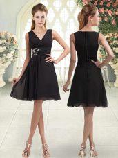 Enchanting Black A-line V-neck Sleeveless Chiffon Mini Length Zipper Beading Dress for Prom