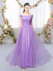 Smart Lavender Lace Up Off The Shoulder Lace Wedding Guest Dresses Tulle Sleeveless