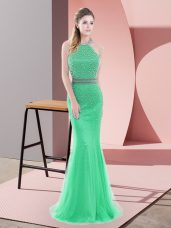 Exquisite Sleeveless Tulle Sweep Train Backless Prom Dress in Green with Beading