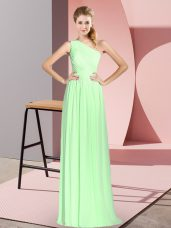 Customized Sleeveless Ruching Lace Up Dress for Prom
