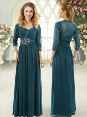 Teal Zipper Sweetheart Beading and Ruching Dress for Prom Chiffon Short Sleeves Sweep Train