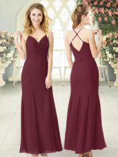 Burgundy Column/Sheath Chiffon Spaghetti Straps Sleeveless Ruching Floor Length Zipper Dress for Prom