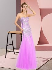 Smart Sleeveless Zipper Floor Length Beading Prom Evening Gown