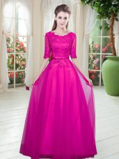 Floor Length Fuchsia Homecoming Dress Scoop Half Sleeves Lace Up