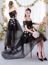 Modern Tulle Short Sleeves High Low Quinceanera Court of Honor Dress and Appliques