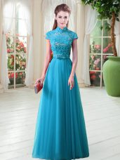 Aqua Blue Tulle Lace Up High-neck Cap Sleeves Floor Length Prom Gown Appliques