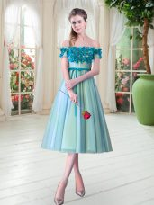 Traditional Tulle Sleeveless Tea Length Evening Dress and Appliques