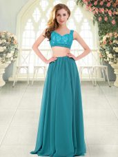 Graceful Teal Sleeveless Beading and Lace Floor Length Womens Party Dresses