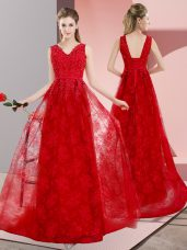 Red Prom Dress Lace Sweep Train Sleeveless Beading