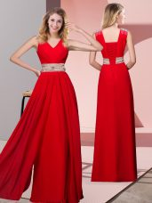 Classical Red Column/Sheath Beading Prom Evening Gown Lace Up Chiffon Sleeveless Floor Length