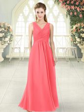 Edgy V-neck Sleeveless Zipper Prom Evening Gown Watermelon Red Chiffon