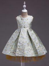 Unique Mini Length Apple Green Flower Girl Dresses for Less Satin Sleeveless Embroidery