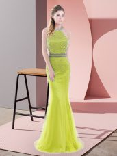 Chic Sleeveless Beading Backless with Yellow Green Sweep Train