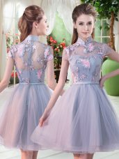 Deluxe Grey Prom Gown Prom and Party with Appliques High-neck Short Sleeves Zipper