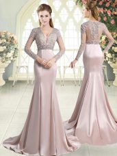Amazing Pink Mermaid V-neck Long Sleeves Satin Sweep Train Zipper Beading and Lace Evening Dress