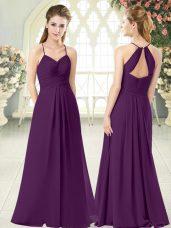 Chic Floor Length Empire Sleeveless Purple Evening Dress Zipper