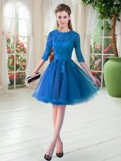 Fabulous Blue Zipper Lace Half Sleeves Knee Length