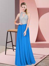 Designer Floor Length Blue Juniors Evening Dress Chiffon Sleeveless Beading