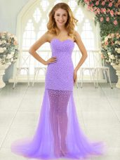 Lavender Sleeveless Tulle Brush Train Zipper Homecoming Dress for Prom and Party