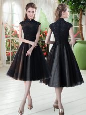 Hot Sale Black Zipper High-neck Beading and Lace Homecoming Dress Tulle Cap Sleeves