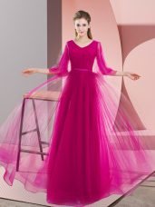 Suitable Floor Length Pink and Fuchsia Prom Evening Gown V-neck Long Sleeves Zipper