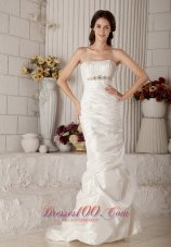 Mermaid Beading Brush Train Strapless Bridal Gown
