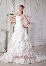 A-line Pick-ups Court Train Bridal Gwon Elegant Spring