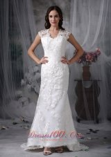 Sheath Lace Brush Train Wide Straps Wedding Dress