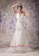 V-neck Sash Brush Tarin Outdoor Wedding Dress