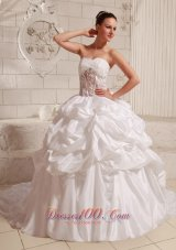 Sweetheart Ball Gown Wedding Dress pick-ups Court Train
